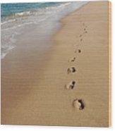 Kaanapali Footprints In The Sand Wood Print