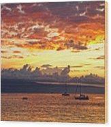 Ka'anapali Sunset Fire Wood Print