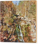 Flows Down The Cliff Wood Print