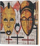Kabila Masks Wood Print