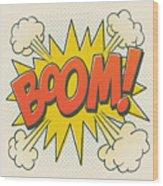Comic Boom On Off White Wood Print