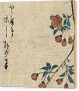 Kaido Ni Shokin - Small Bird On A Branch Of Kaidozakura Wood Print