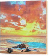 Kailua-kona Sunset Wood Print