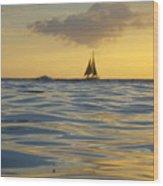 Kaimana Golden Sunset Wood Print