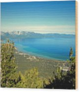 Lake Tahoe From The Top Of Heavenly Gondola Wood Print