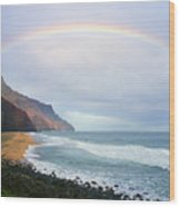 Kalalau Beach Rainbow Wood Print