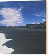 Kalapana Black Sand Wood Print