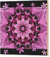 Kaleidoscope 1 With Black Flower Framing Wood Print