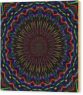 Kaleidoscoped Fireworks Wood Print