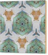 Kaleidoscope In Mint And Orange Wood Print