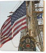 Kalmar Nyckel American Flag Wood Print