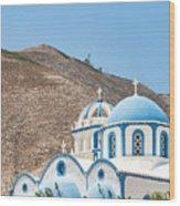 Kamari Church And Mountain Wood Print
