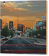 Kansas City Evening Wood Print