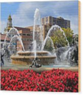 Kansas City Fountain Ablaze In Crimson Wood Print