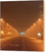 Kansas City Grand Avenue In Fog Wood Print