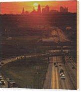 Kansas City I 70 Sunset Wood Print