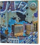 Kansas City Jazz Mural Wood Print