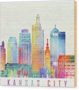 Kansas City Landmarks Watercolor Poster Wood Print