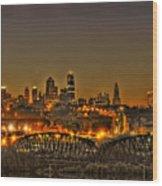Kansas City Missouri At Dusk Wood Print by Don Wolf