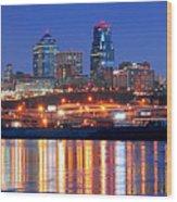 Kansas City Missouri Skyline At Night Wood Print