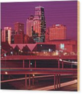 Kansas City Skyline 1991 Wood Print