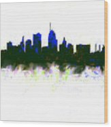 Kansas City Skyline Blue  Wood Print