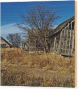 Kansas Farmhouse And Barn Wood Print