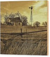 Kansas Pioneer Homestead On The Plains Wood Print