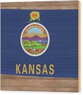 Kansas Rustic Map On Wood Wood Print