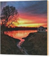 Kansas Sunrise Wood Print