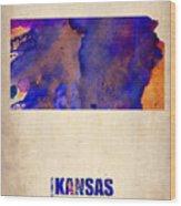 Kansas Watercolor Map Wood Print by Naxart Studio