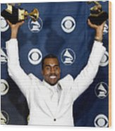 Kanye West In The Press Room For 47th Wood Print by Everett