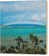 Kapalua Bay Rainbow Wood Print
