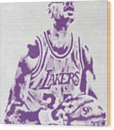 Kareem Abdul Jabbar Los Angeles Lakers Pixel Art Wood Print