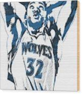 Karl Anthony Towns Minnesota Timberwolves Pixel Art Wood Print
