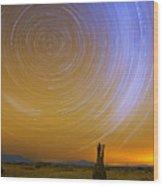 Karoo Desert Star Trails Wood Print