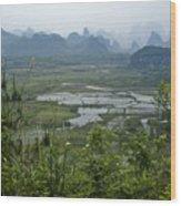 Karst Landscape Of Guangxi Wood Print
