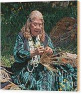 Kashia Pomo Woman Weaving Basket Wood Print