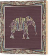 Kashmir Patterned Elephant 2 - Boho Tribal Home Decor  Wood Print