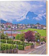 Kastelruth And Schlern Peak In Alps Landscape View Wood Print