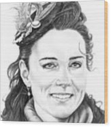 Kate Middleton Wood Print by Murphy Elliott