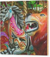 Kate The Zebra And  Lion Carousel  Wood Print