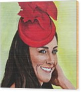 Katherine Duchess Of Cambridge Wood Print by Betty-Anne McDonald