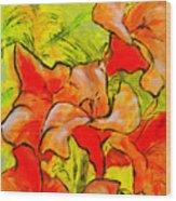 Kathies Daylilies Fine Art Painting North Carolina Wood Print