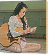 Katy Perry Painting Wood Print
