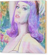 Katy Perry Watercolor, Wood Print