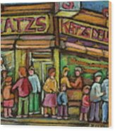 Katzs Delicatessan New York Wood Print