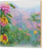 Kauai Canyon Hawaii Flowers Wood Print