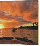 Kauai Sunset And Boat At Anchor Wood Print