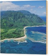 Kauai, Tunnels Beach Wood Print